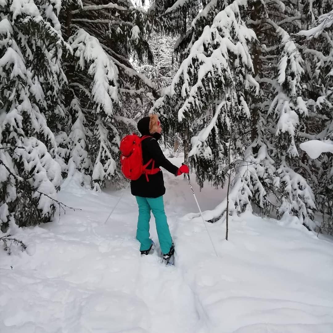 Nainen lumikenkäilee lumisessa metsässä.