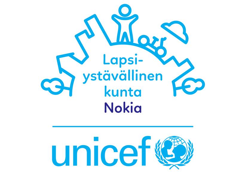Unicefin Lapsiystävällinen kunta Nokia -logo.