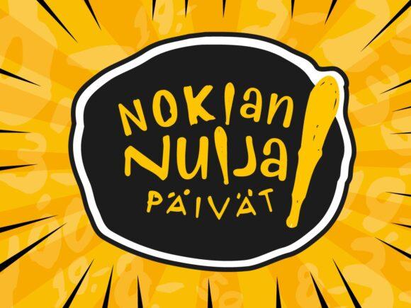 Nuija-päivien logossa on mustalla pohjalla räväkän keltainen teksti ja nuija.